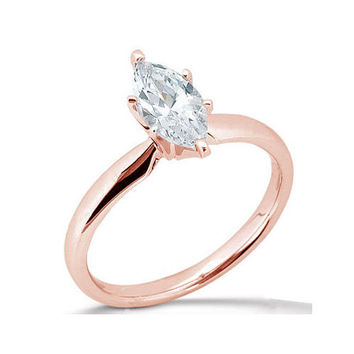 pink gold rose marquise 1.51 carat diamond solitaire engagement ring