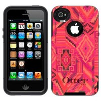 Otterbox Commuter Aztec Pink Tribal Pattern Case for Apple iPhone 4