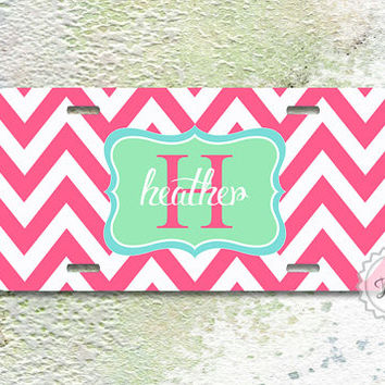 License plate - Fuchsia chevron with Mint monogram name or initials, personalized girly car plate