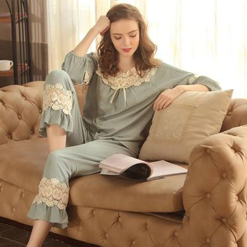RenYvtil New Royal Blue Lace Women Sleepwear Girls Linen Vintage Princess Pajamas Nightwear Long Sleeve Autumn Sleep Lounge Set