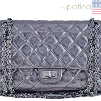 Chanel Dark Silver Distressed Calf 226 Classic Reissue 2.55 Flap Bag 61742