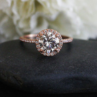 Rose Gold Moissanite Engagement Ring with 7.50mm Brilliant Moissanite and Diamond Halo in 14k Rose Gold