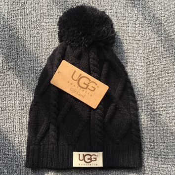 Black UGG Autumn Winter Soft knitted Beanies Hat
