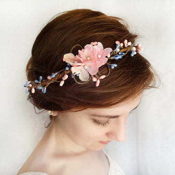 pink and blue floral circlet, bridal flower halo, flower girl wreath, headband hairpiece - GOOSE GIRL - cornflower blue hair accessories