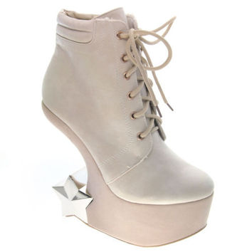 Felicia05 Beige by Fahrenheit, Beige Heel Less Gaga Curved Wedge Ankle Bootie Lace Up Chrome Star