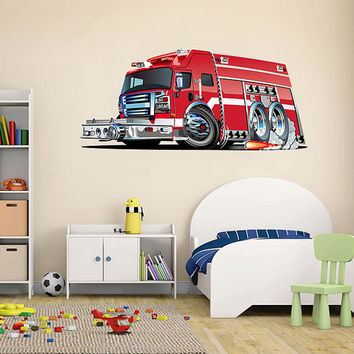 kcik1543 Full Color Wall decal cool fire truck bedroom children's room