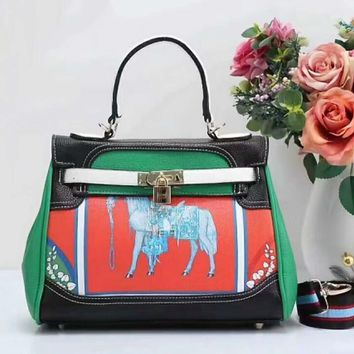 HERMES Women Shopping Leather Crossbody Satchel Shoulder Bag Black green I-LLBPFSH