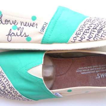 The Darla  Teal and Cream Polka Dot Custom TOMS by FruitfulFeet