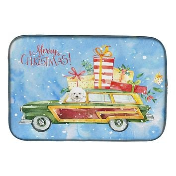 Merry Christmas Bichon Frisé Dish Drying Mat CK2395DDM