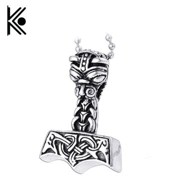 Avengers jewelry Thor's Hammer Mjolnir Knots  Viking Thor Chain Male Viking Gothic Necklace Men Pendant  supernatural Jewelry