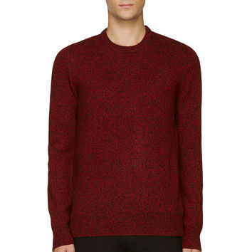 Mcq Alexander Mcqueen Red And Black Marled Zipped-vent Sweater