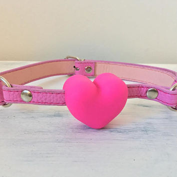 Adorable Pink Heart Gag with Leather Strap