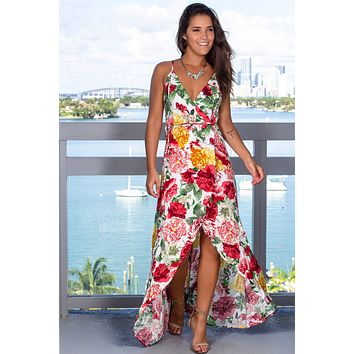 Ivory and Red Floral Wrap Dress