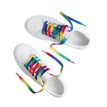 Colorful shoelace white canvas shoes color gradient rainbow red yellow blue green multicolored colorful shoelaces