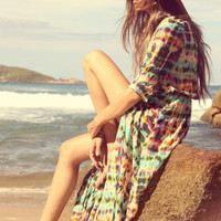 Bohemian Painted Maxi Dress, Cardigan Dress or Swimsuit Cover Up