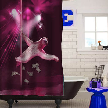 stripper sloth custom shower curtain