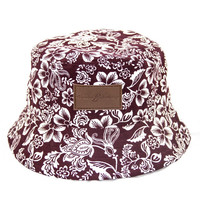 Genuine By Anthony Burgundy Hawaiian Floral Bucket Hat