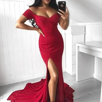 Evening Dresses Red Off The Shoulder Slit Prom Dress