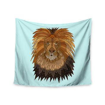 "Art Love Passion ""Lion"" Blue Brown Wall Tapestry"
