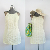 1990s Yellow Embroidered Mini Sundress Dress