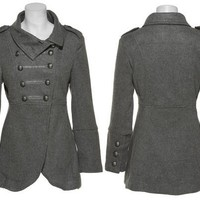 LAST KISS Double Breasted Military Coat W/ Pockets (Grey)