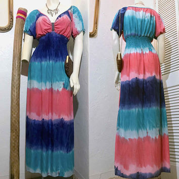 Vintage Pink and Blue Tie Dye Maxi Dress / Off Shoulder Short Sleeve Peasant  / Elastic Hourglass Empire Waist / Hippie Boho Long Sun Dress