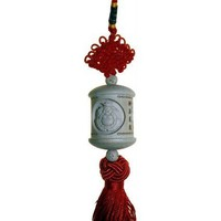 Buddha Wood Carving Tassel - Peach Wood