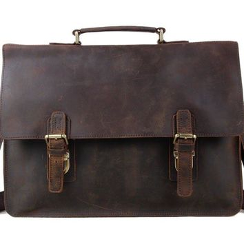 BLUESEBE MEN DARK BROWN VINTAGE LEATHER MESSENGER BAG/SATCHEL 7035B-1
