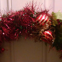 Green and Red Festive Holiday Wreath