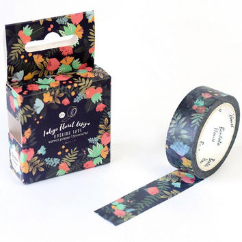 JB110  Blooming Dark Flowers Decorative Washi Tape DIY Scrapbooking Masking Tape School Office Supply Escolar Papelaria