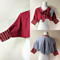 red and gray dolman sleeved shrug with bow (small to medium), striped bat sleeved bolero jacket