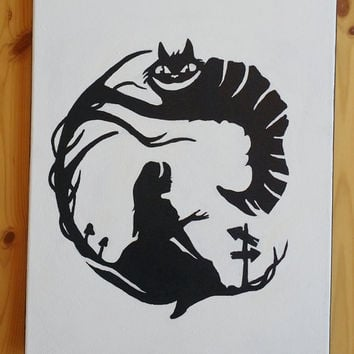 Alice and the cat painting, acrylic canvas painting, Silhouette painting of Alice in wonderland, gift ideas for a teen, canvas wall decor