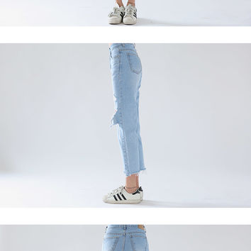 High-Rise Ripped Knee Jeans | STYLENANDA