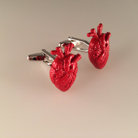 Anatomical Heart Cufflinks, Heart Cufflinks Love Cufflinks, Men's Cuff Links, Wedding Cuff Links, Father's Day