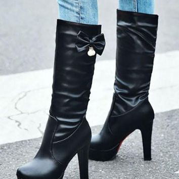 New Black Round Toe Pearl Bow Sequin Fashion Mid-Calf Boots