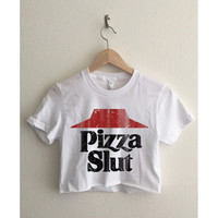 Pizza Slut Short Sleeve Cropped T Shirt