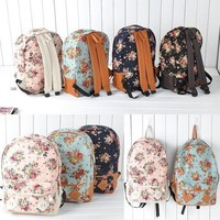 Womens Girls Canvas Flora Printed BackPacks Shoulder Dubble School BookBags New