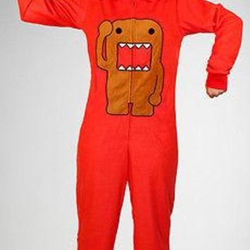 Licensed cool NEW DOMO RED Adult Costume 1 PC PJS Pajamas Hood Hoody Hat Removable Feet XXL 2X