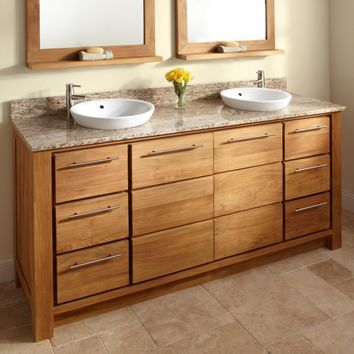 "72"" Venica Teak Double Vanity for Semi-Recessed Sinks - Bathroom Vanities - Bathroom"