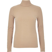 Light brown ribbed roll neck top - long sleeve t-shirts - t shirts / tanks / sweats - women