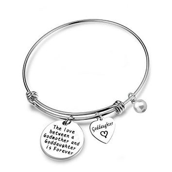 AUGUAU SEIRAA Goddaughter Gift The Love Between a Godmother and Goddaughter is Forever Bracelet First Communion Gift