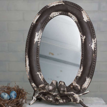 Songbird Tabletop Ladies Vanity Mirror Country Shabby Vintage Distressed Finish