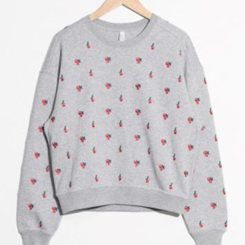 & Other Stories | Embroidered Cherry Pullover | Grey