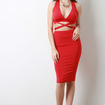 Two Piece Crisscross Midsection Dress
