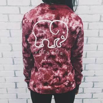 Pocketed Maroon Acid Wash Classic Print