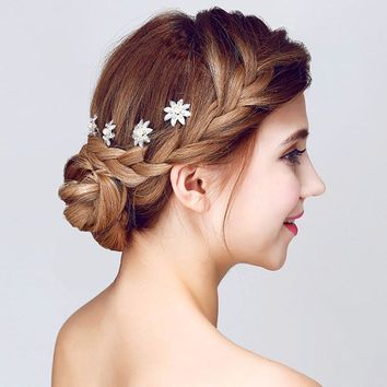 New Style 6Pcs/lot Wedding Bridal Hair Pins White Crystal flower Hair Stick Flower Hairpin Woman U Hair Clips Hair Jewelry