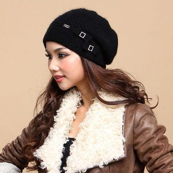 DCCKJG2 Free Shipping Women Hats Caps Top Quality Wool Knitted Hats Bow Knot Winter Thicken Sullies Beanies For Christmas Gift 132856