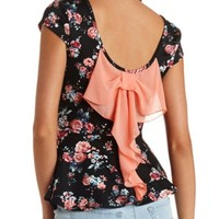 FLORAL PRINT BOW-BACK PEPLUM TOP