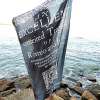 "Romeo and Juliet ""Black and White"" Classic Novel Book Lover Scarf"