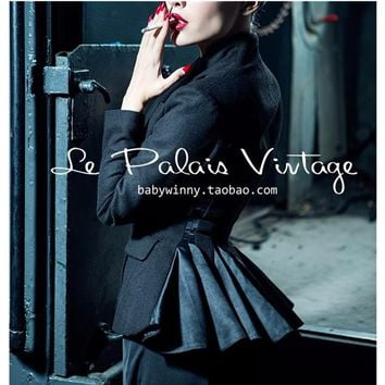 40- le palais vintage women autumn black wool peplum chaqueta smoking mujer coat pinup jacket plus size 4xl manteau femme blazer
